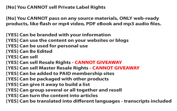 White Label PLR video license